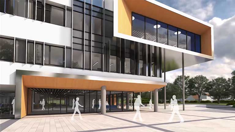 Oxstalls Campus Business School building exterior.