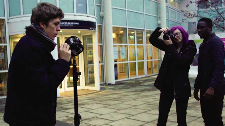 Students at the Park Campus doing a photography shoot.