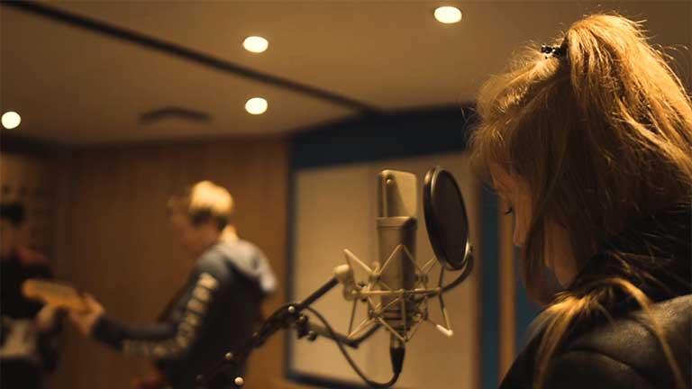 Students in the University recording studio.