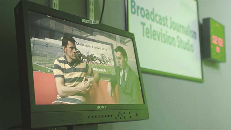 Broadcast Journalism television studio.