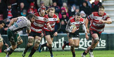 A Gloucester rugby match.