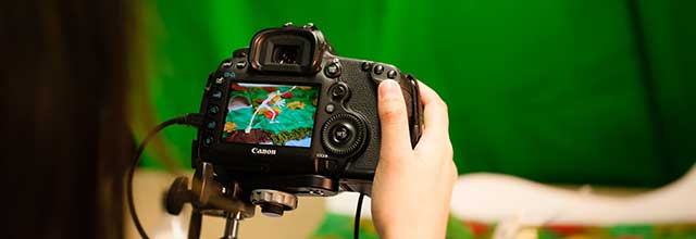 A digital camera being used to create an animation.